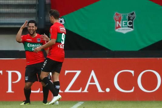 Anass Achahbar heeft NEC op 1-0 gezet tegen SC Cambuur.