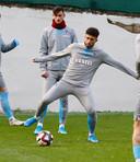 Bilal Basacikoglu in actie tijdens een training van Trabzonspor.