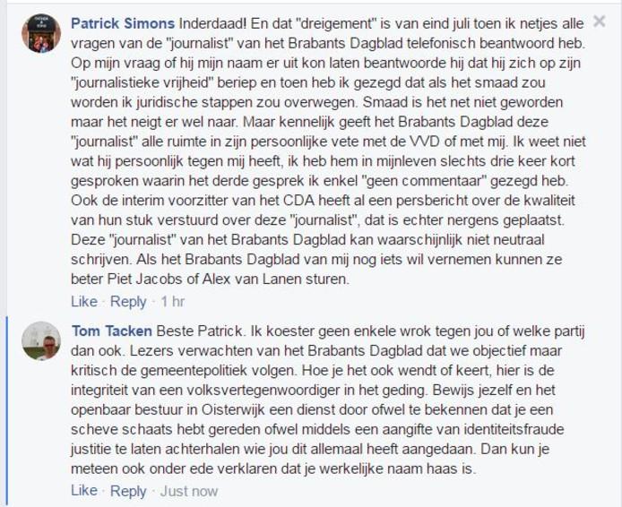 Patrick Simons verweert zich op Facebook tegen berichtgeving in het Brabants Dagblad