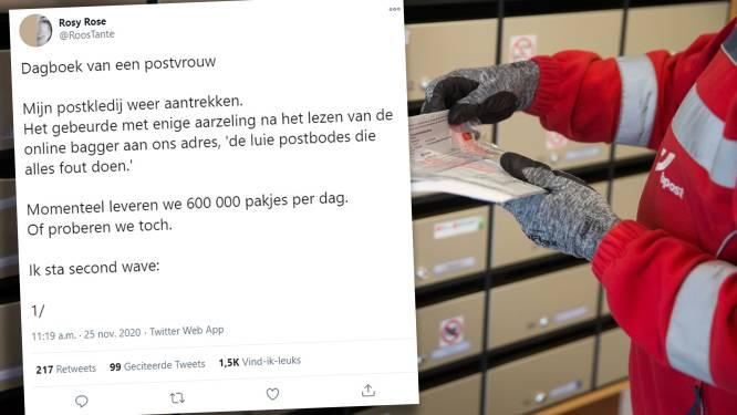 """Roos (39) beschrijft hoe leven als postbode écht is: """"Ik kreeg gisteren 4 uur en 13 minuten om 100 pakjes te leveren. Met een kapotte gps"""""""