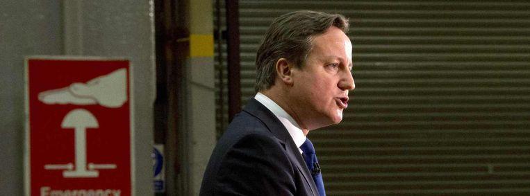 De Britse premier David Cameron tijdens zijn alom geprezen speech afgelopen vrijdag. Beeld reuters