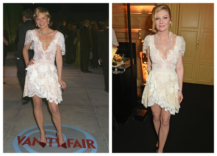 Kirsten Dunst in 2004 (links) en 2017 (rechts).