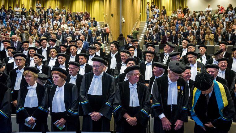 Hoogleraren bij de opening van het academisch jaar aan de Universiteit van Wageningen (foto ter illustratie). Beeld ANP