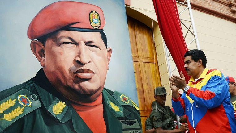 Een portret van de Venezolaanse president Hugo Chavez. Beeld afp