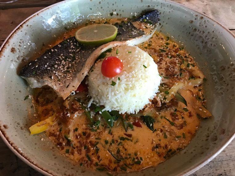 Zeebaars met rode curry en rijst