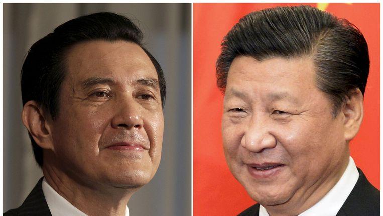 De presidenten van Taiwan Ma Ying-jeou (links) en China Xi Jinping. Beeld reuters