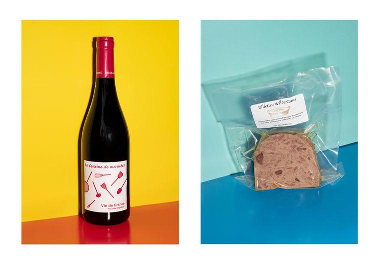 Links: La cousine de ma mère, rode wijn. Rechts: Rillettes van de bouten van Schipholganzen, gemaakt door Diny en Floris van de Pasteibakkers.   Beeld Els Zweerink