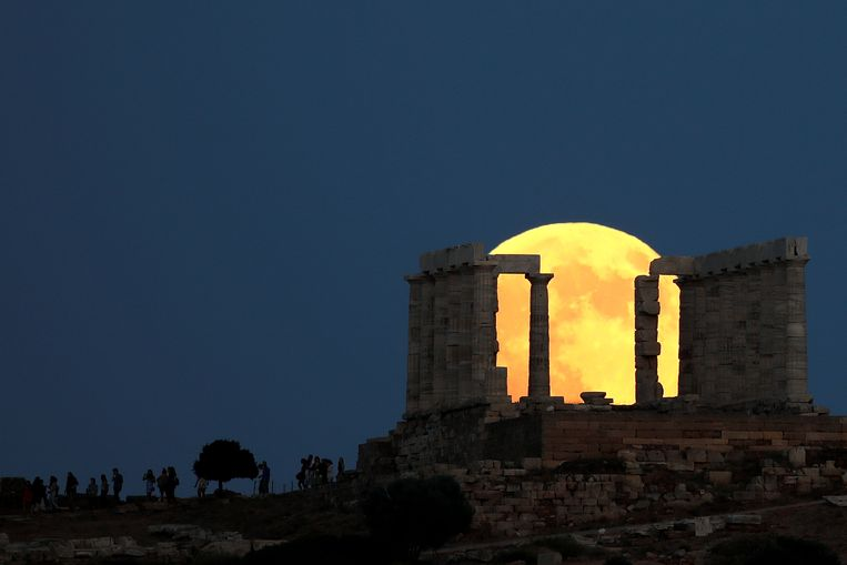 De tempel van Poseidon bij Athene (Griekenland).