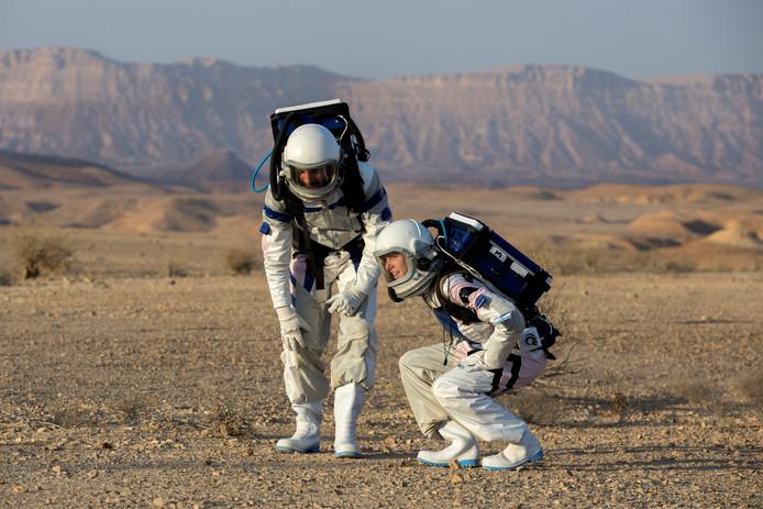 Marssimulatie in de Negev woestijn.