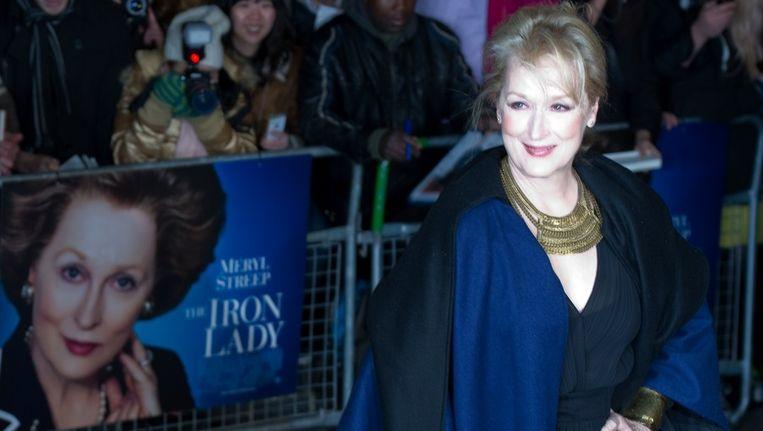 Meryl Streep poseert op de Europese premiere van de film The Iron Lady. Beeld null