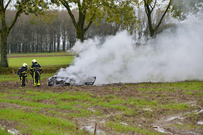 Autobrand in weiland Prinsenbeek.