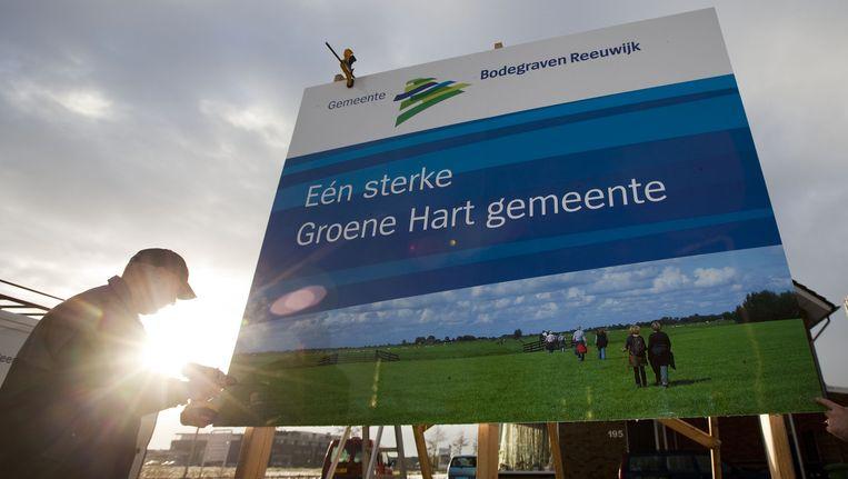 Bord van gemeente Bodegraven-Reeuwijk waar Stichtse Vecht deel van uitmaakt. Beeld anp