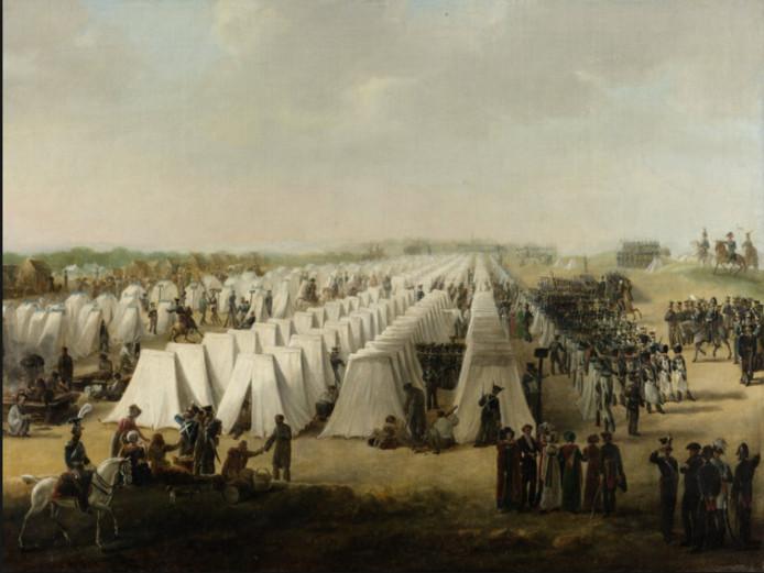 Het Nederlandse kamp bij Rijen tijdens Tiendaagse Veldtocht tegen de Belgen in 1831.
