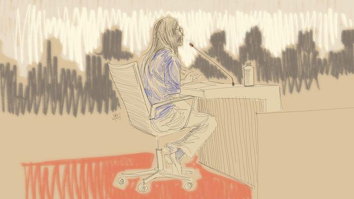 Ce dessin d'Igor Preys montre une sœur de la victime, Sophie, qui témoigne lors d'une séance du procès d'assises de trois médecins devant la Cour d'assises de Flandre orientale, à Gand, le mardi 21 janvier 2020.