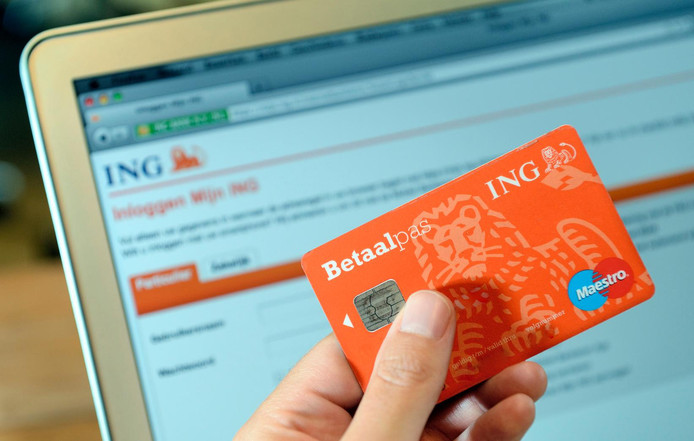 Een bankpas van de ING voor de website van de bank