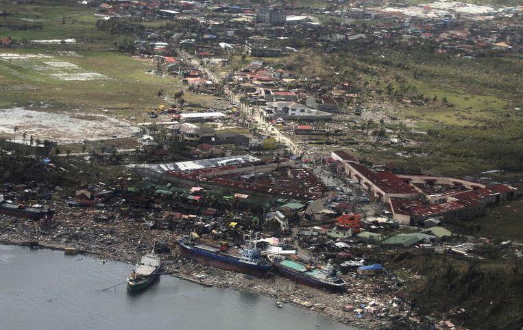 Verwoest gebied bij Tacloban. Beeld ap