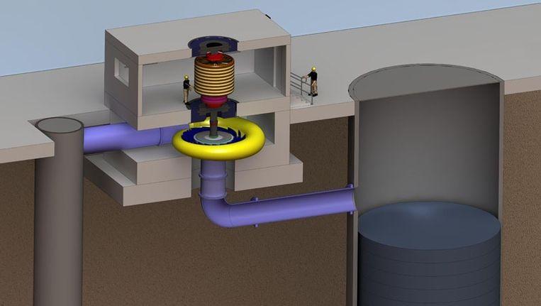 De ondergrondse waterkrachtcentrale heeft bovengronds maar een klein gebouw nodig. Beeld Gravity Power