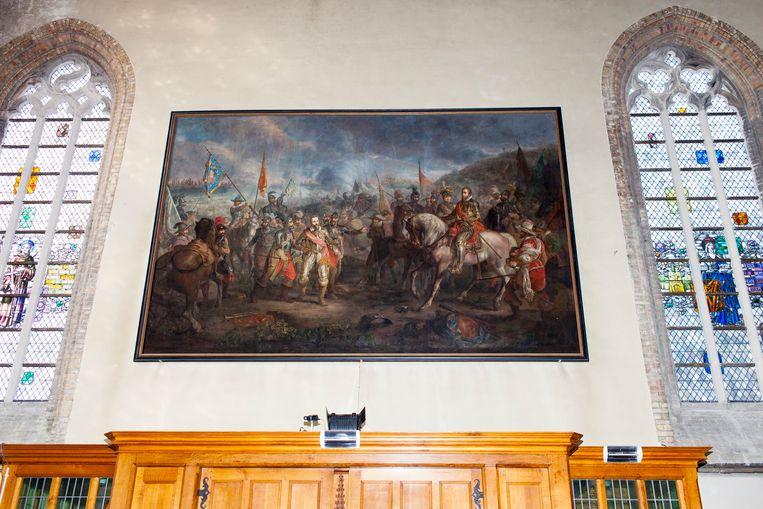 Het schilderij van de Slag bij Nieuwpoort van Louis Moritz Beeld Renate Beense
