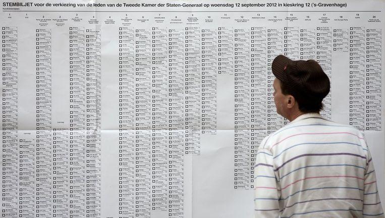 Een kiezer bekijkt de kieslijst die in het Haagse stadhuis hangt. Beeld anp