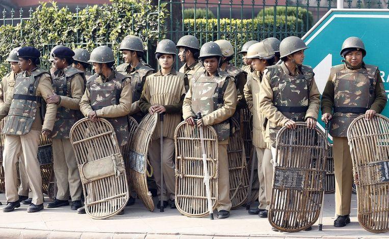 Politievrouwen in New Delhi. Beeld epa