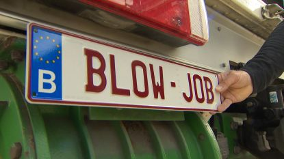 Vervelend! 'Blow-job' nummerplaat is verboden