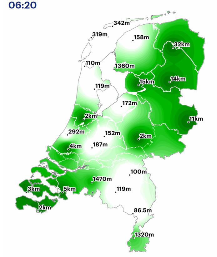 Hoeveel zicht heb je in jouw regio? De situatie rond 06.30 uur.