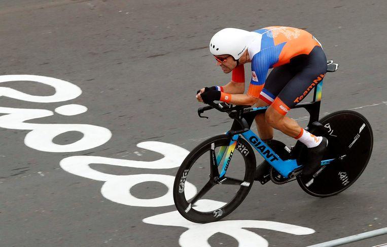 Tom Dumoulin tijdens zijn zilveren race op de Olympische Spelen in Rio de Janeiro. Beeld EPA