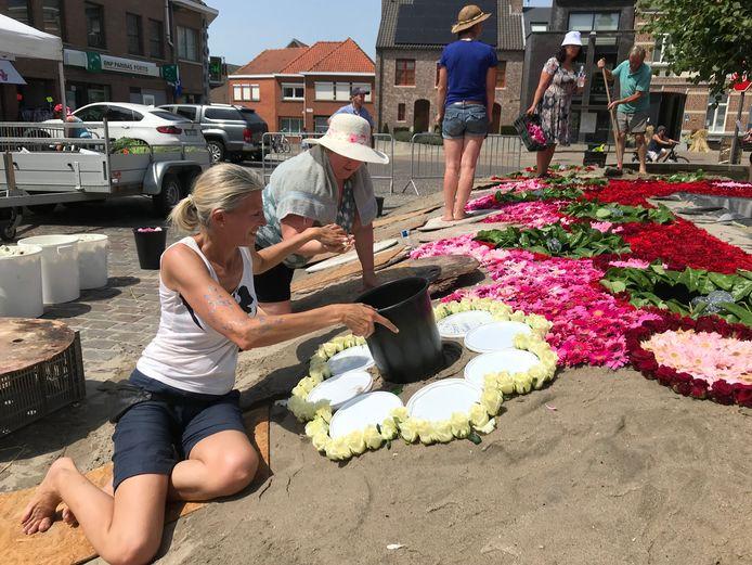 Ondanks de hitte leggen vrijwilligers het bloementapijt van Moorsel aan.