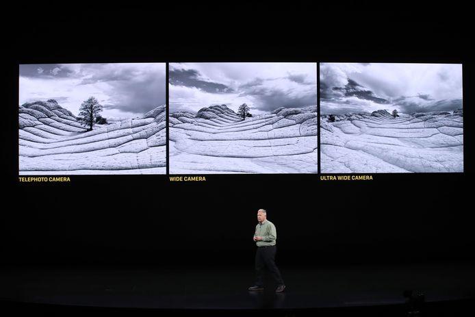 Het verschil tussen de drie camera's op de achterkant van de iPhone 11 Pro en iPhone 11 Pro Max: de telelens-, groothoek- en ultragroothoekcamera.