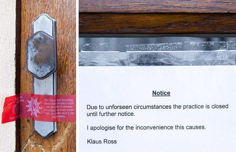 De verzegelde deur van de kliniek met een briefje dat de praktijk tot nader order is gesloten. Beeld ANP