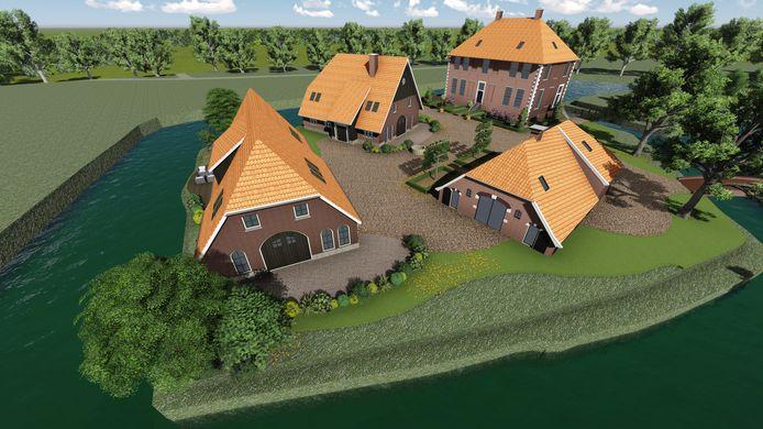Een van de schetsen van hoe havezate Huize de Kamp in Neede er volgens NyStaete uit moet komen te zien.
