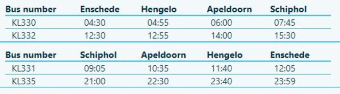 Busschema KLM-bus van Enschede naar Schiphol