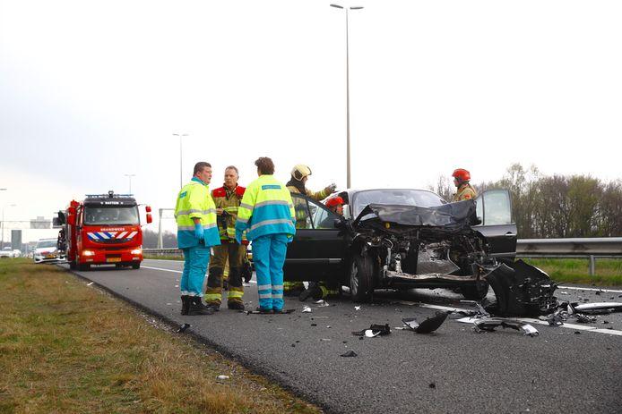Ongeluk op de A50 bij Hattem.