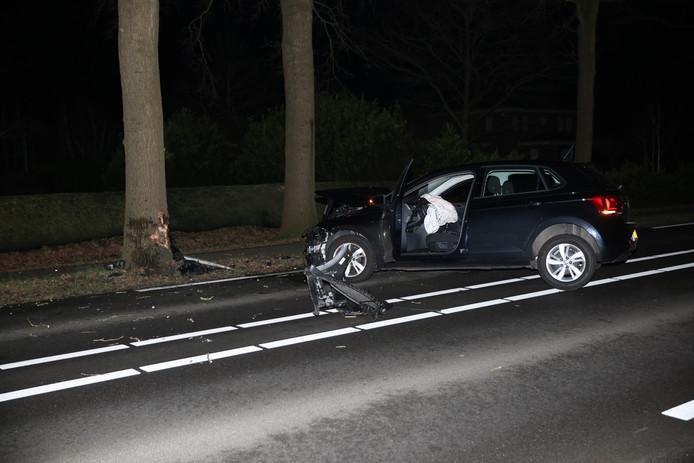 Auto botst tegen boom op Halsterseweg in Steenbergen.