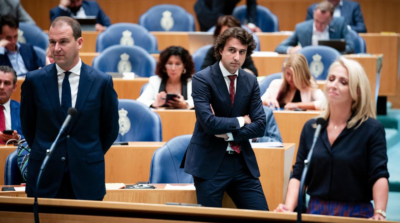 Lodewijk Asscher (PVDA), Jesse Klaver (Groenlinks) en Lilian Marijnissen (SP) tijdens de algemene politieke beschouwingen in de Tweede Kamer. Beeld Freek van den Bergh / de Volkskrant
