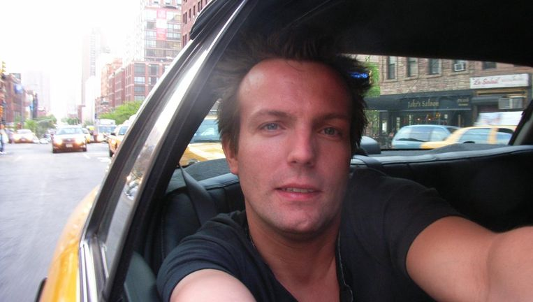 Mark Langedijk in 2006 in een taxi in New York Beeld Privé foto