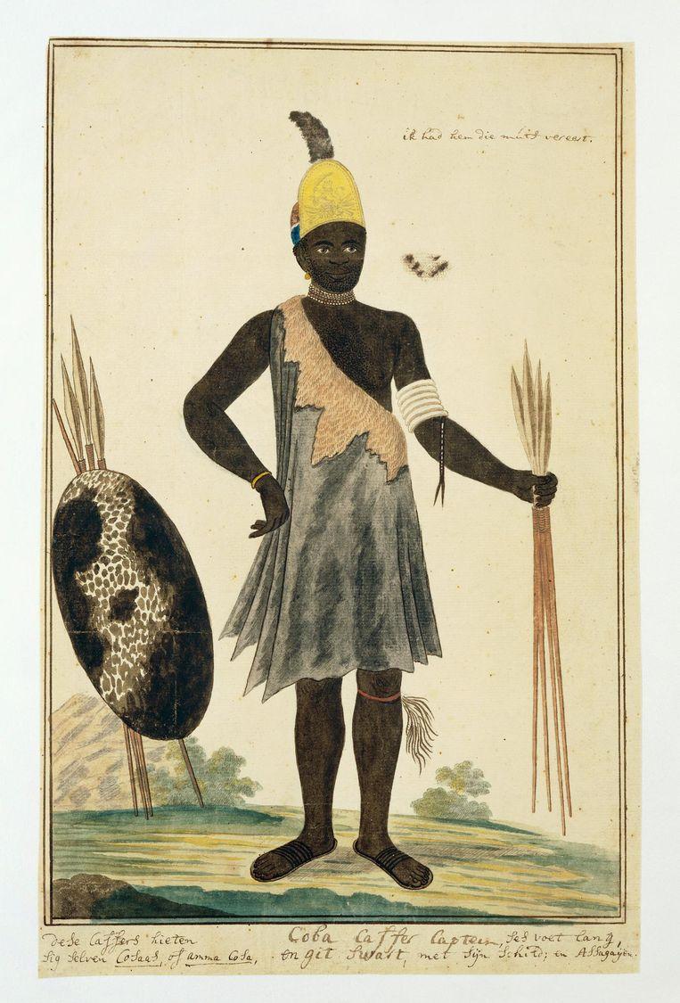 Tekening van Xhosaleider Coba door Robert Gordon Beeld Rijksmuseum