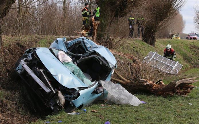 De auto kwam tegen een tweede boom uiteindelijk tot stilstand.
