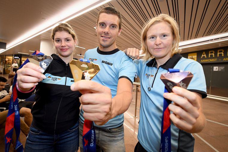 Drie medaillewinnaars op een rij: Nicky Degrendele, Kenny De Ketele en Githa Michiels.