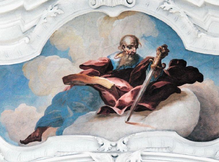 Fresco van apostel Paulus in de kloosterkerk in Niederaltaich. Gerard Koolschijn laat in zijn vertaling van de Romeinenbrief de rauwe, 'rare' Paulustekst zonder toelichting klinken. (Trouw) Beeld