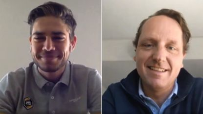 """Wout van Aert, mét baard, in videogesprek met sportief directeur Jumbo-Visma: """"Ook dit jaar eigen kans gaan in Tour"""""""
