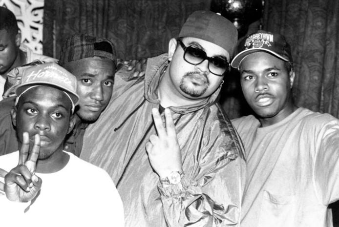 Met de collega's van A Tribe Called Quest, circa 1990.