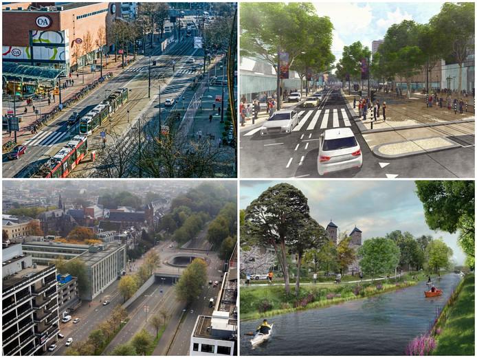De Coolsingel in Rotterdam in de oude en toekomstige situatie. Onderaan de Catherijnesingel in Utrecht in 2008 en volgend jaar.