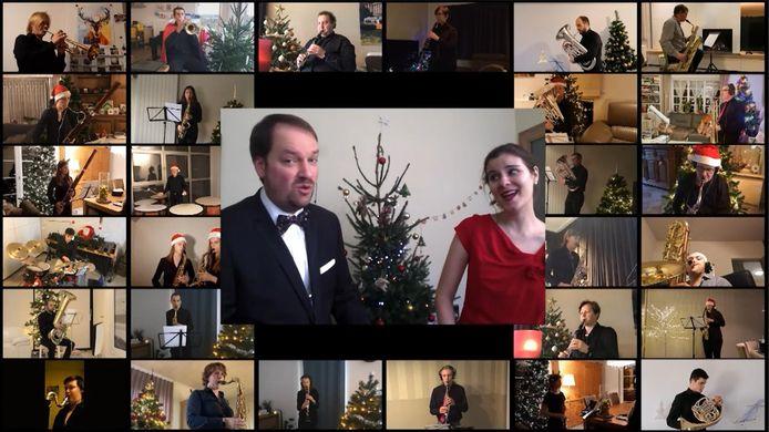 Een screenshot van het kerstconcert van de Verenigde Vrienden