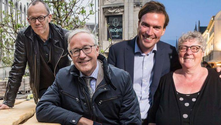 FOTOMONTAGE HLN: Filip Watteeuw (Groen), Rudy Coddens (sp.a), Mathias De Clercq (Open Vld) en Mieke Van Hecke (CD&V). Krijgt de Arteveldestad een monstercoalitie?
