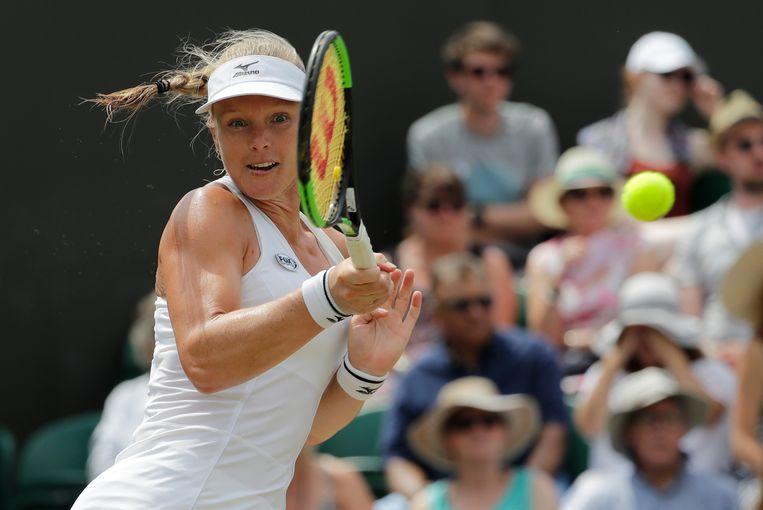 Kiki Bertens in haar gewonnen wedstrijd tegen de Tsjechische Karolina Pliskova. Beeld AP