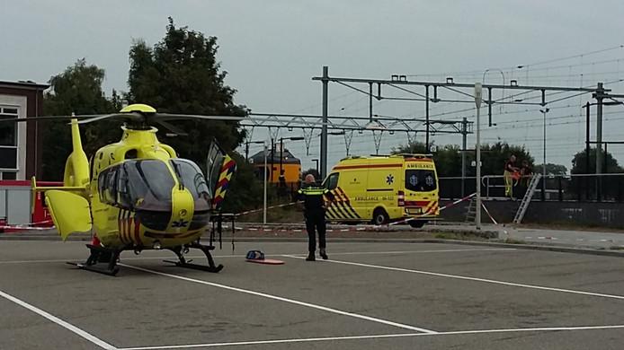 Traumahelikopter geland bij station Apeldoorn