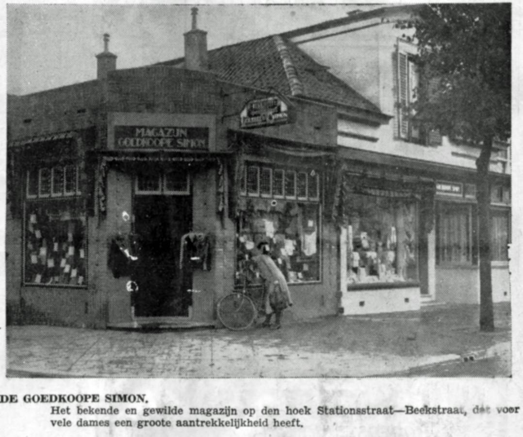 De Goedkoope Simon in 1935, vlak voordat het tegen de vlakte ging om plaats te maken voor nieuwbouw.