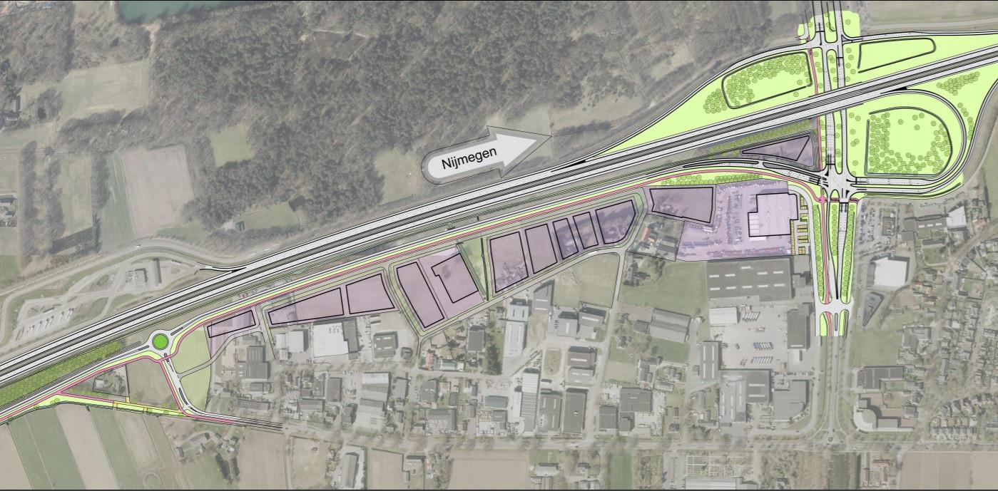 Projectie van de nieuwe parallelweg bij het bestaande bedrijventerrein Cereslaan / Vismeerstraat. Rechtsboven het A59-knooppunt Oss/Heesch.