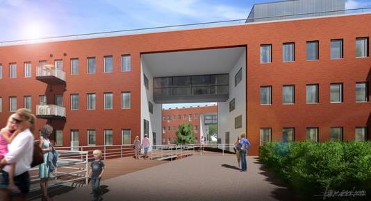 Een artist impression van het Meanderpark in Nieuwegein, verbouwd tot appartementencomplex.